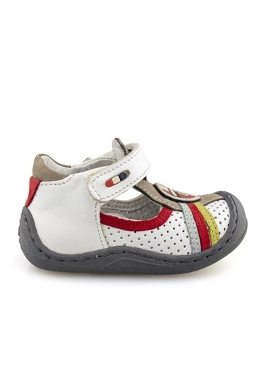 Cici Bebe Ayakkabı Cicibebe Deri Kırmız Nubuk Şeritli Önü Ve Arkası Kapalı Cırtcırtlı Erkek Çocuk Sandalet Beyaz